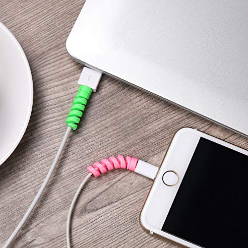HUMBLE® Spiral Charger Cable Protector Data Cable Saver Charging Cord Protective Cable Cover Set of 1 (4 Pieces).