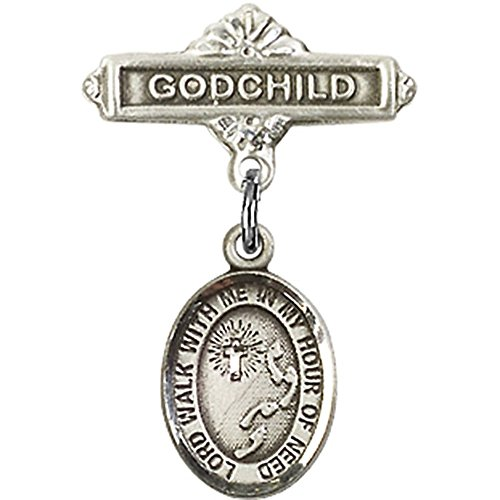 Sterling Silver Baby Badge with Footprints / Cross Charm and Godchild Badge Pin 1 X 5/8 inches