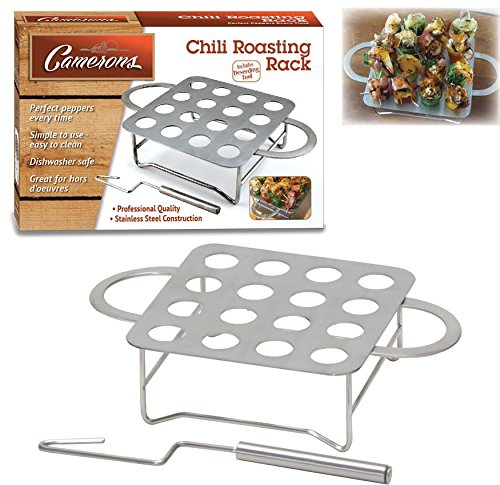 Chili Pepper Rack - Stainless Steel Jalapeno Chile Pepper Roaster with Seeder and Recipes by Camerons Products