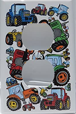 Tractor Outlet Cover Switch Plate / Red, Blue, Orange and Green Tractor Wall Decor