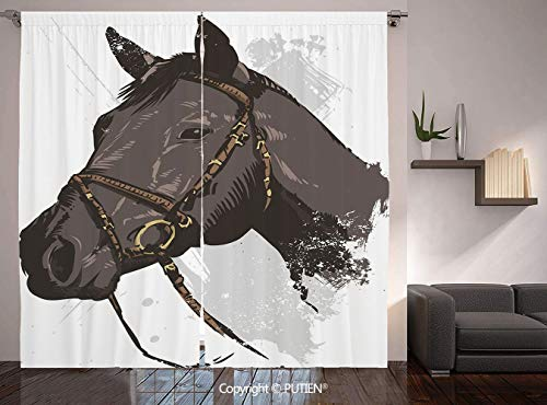 (Thermal Insulated Blackout Window Curtain [ Equestrian,Wild Horse Portrait with Grunge Paintbrush Effects Graphic Art Design,Charcoal Grey Black ] for Living Room Bedroom Dorm Room Classroom Kitchen C)