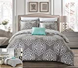 Chic Home Dayanara 6 Piece Reversible Duvet Cover Set Two-Tone Medallion Print Zipper Closure Bed in a Bag Bedding - Sheets Decorative Pillow Shams Included, Twin XL Grey
