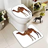 Analisahome Toilet carpet floor mat arabian camel isolated on white background 2 Piece Shower Mat set