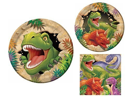Dinosaur Dino Blast 16 Guest Party Supply Bundle (3 Items) - Dinner Plates, Dessert Plates & Napkins by Creative Converting (Dinosaur Napkin)