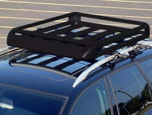 ROKIOTOEX 50 x 39 Roof Cargo Carrier Double Layer Aluminum Roof Basket With Adjustable Hitch Mount Black Basket for SUV Cars