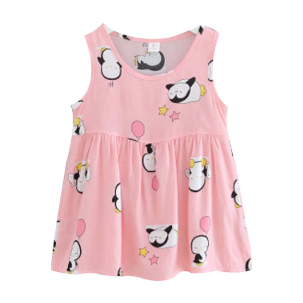Koala Superstore Sleeveless Cotton Dress Vest Skirt for Girls Home Nightdress Kids' Pajama [C]