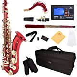 Mendini by Cecilio MTS-RL+92D Red Lacquer B Flat Tenor Saxophone with Tuner, Case, Mouthpiece, 10 Reeds and More