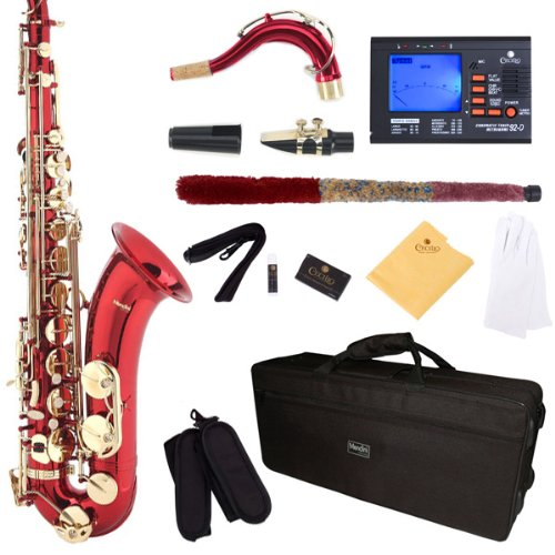 Mendini by Cecilio MTS-RL+92D Red Lacquer B Flat Tenor Sa...