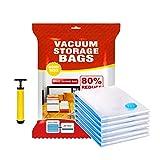 Maxilei Vacuum Storage Bags Travel Hand Pump, Space Saver Bags 80% More Storage!(6 Large Packs)