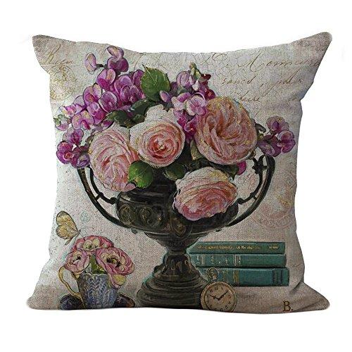 ChezMax Linen Blend Flower Printing Pattern Cushion Cover Cotton Pillowslip Square Decorative Throw Pillow Case 18 X 18
