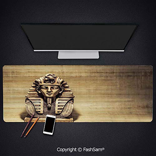 Desk Large Mat Mouse Pads Stone Pharaoh Tutankhamen Mask Sculpture Papyrus Background Design Keyboard Pad for Office Desktop(W35.4xL15.7)