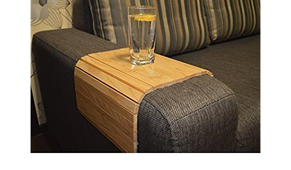 Arm Chair Tray Table 18x12 Inch By Woodenstuff Flexible Armrest