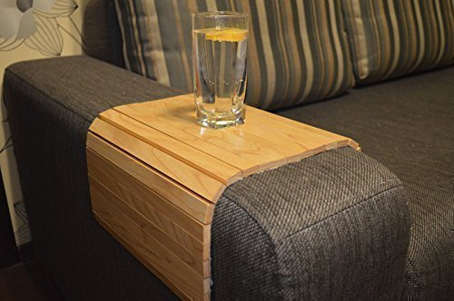 WoodenStuff Sofa Arm Table Coffee Under Couch Arm Tray Wooden Armrest  Organizer Length 18 Inch 7