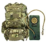 Tactical Backpack - Tactical Military Backpack with 3 Molle Bonus Bags - 2.5L Hydration Water Bladder Included - By Monkey Paks (Multi Camo)