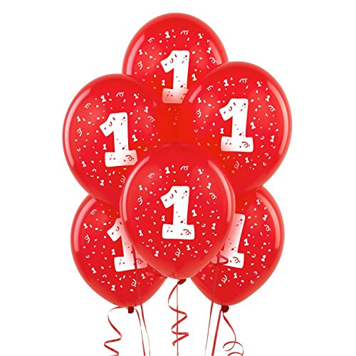BirthdayExpress Red with #1 Matte Balloons (6)