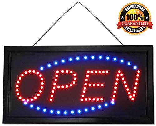 Neon Sign - Red & Blue LED Lights OPEN Sign - Extended Power Cord - Two Modes - Flashing / Steady Motion - Sturdy Chain - Best Signs for Business or Office - Perfect for Man Cave or Home Bar Decor