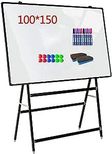 سبورة بيضاء عالية الجودة على الوجهين للهاتف المحمول سبورة بيضاء مكتب تعليم مساعدة الكتابة حامل دروس الصف المدرسي للأطفال في المنزل مكتب المدرسة (اللون: أبيض الحجم: 100 × 150 سم)