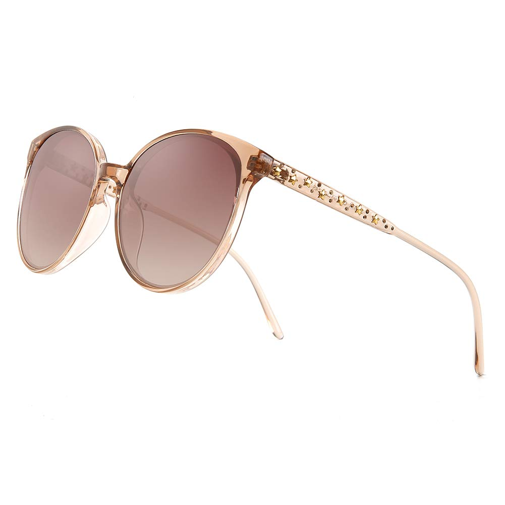 Brown Oversized Polarized Sunglasses for Women Cat Eye Eyewear Fashion Big Frame UV400 Predection Vintage Round Sun glasses