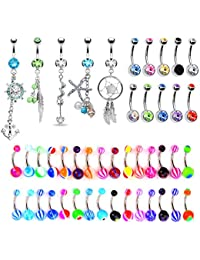 65 Belly Button Rings Dangle Barbells 14G Acrylic Bioflex Steel CZ Navel Body Jewelry