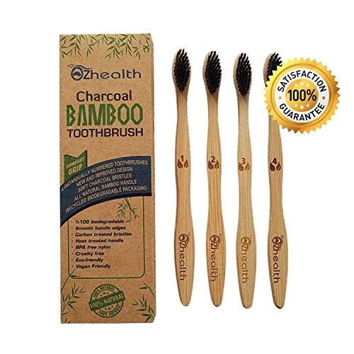 Cepillos de Dientes de Carbón de Bambú Natural | Biodegradables | Respetuosos del Medio Ambiente | Paquete de 4