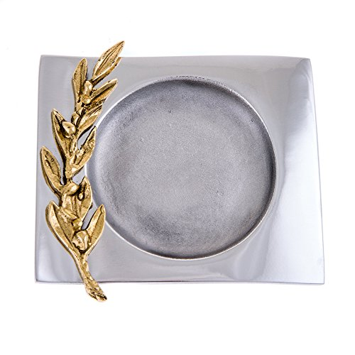 Executive Desk Ash (Elegant Solid Aluminum Metal Decorative Ashtray, Handmade, Golden Olive Branch Design, 16x13.5 cm - 6.3