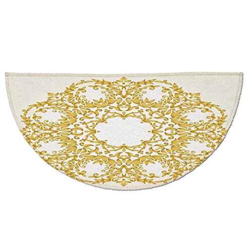 Half Round Door Mat Entrance Rug Floor Mats,Victorian Decor,Traditional Gold Floral Round Circle with Baroque Elements Turkish Ottoman Style Art,Cream,Garage Entry Carpet Decor for House Patio Grass W -