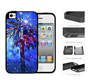 Nebula Palm Tree Midnight Gleam 2-Piece Dual Layer High Impact Rubber Silicone Cell Phone Case Apple iPhone 4 4s