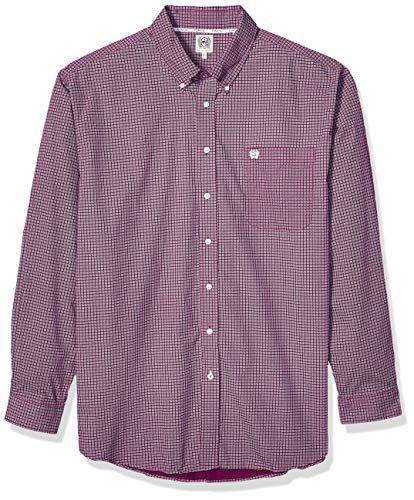 (Cinch Men's Classic Fit Long Sleeve Button One Open Pocket Print Shirt, JR Purple, L)