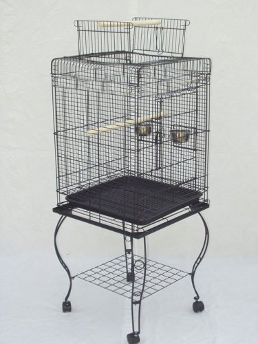 20-Inch Open and Close Plays Top Parrot Lovebird Cockatiel Cockatiels Parakeets Cage WITH Stainless Steel Cups with Stand, Black Vein by Mcage