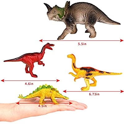M SANMERSEN Kids Dinosaur Toys, 24 Pcs Dinosaurs Toy for Boys 4''- 8'' Realistic Jurassic World Dinosaurs Toys Educational Plastic Figure Toys for 3-6 Years Old Girls: Toys & Games
