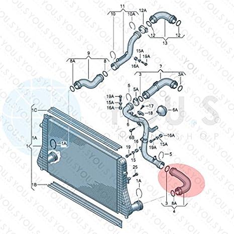 53//55 mm YOU.S Original 1K0145834T Ladeluftschlauch Innendurchmesser ca