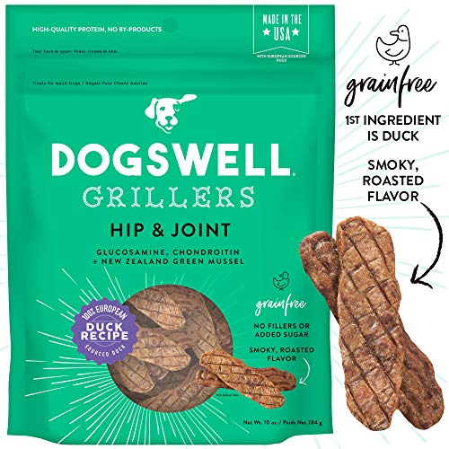 DOGSWELL 100% Grilled Meat Dog Treats, Made in The USA with Glucosamine, Chondroitin & New Zealand Green Mussel for Healthy Hips, 10 oz Duck