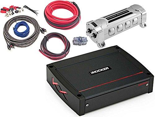 KICKER Bundle of 3 Items 44KXA1200.1 KX Series Mono Car Amplifier w/Power Acoustik AK-4 4 Gauge Complete Kit + PCX-5F 5F Digital Capacitor