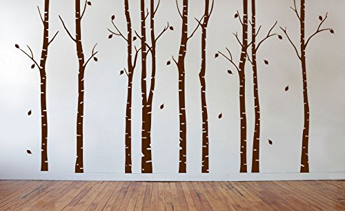 Birch Tree Wall Decal Nursery Forest Vinyl Sticker Removable Animals Branches Art Stencil Leaves (9 Trees) #1263 (Matte Brown, 84