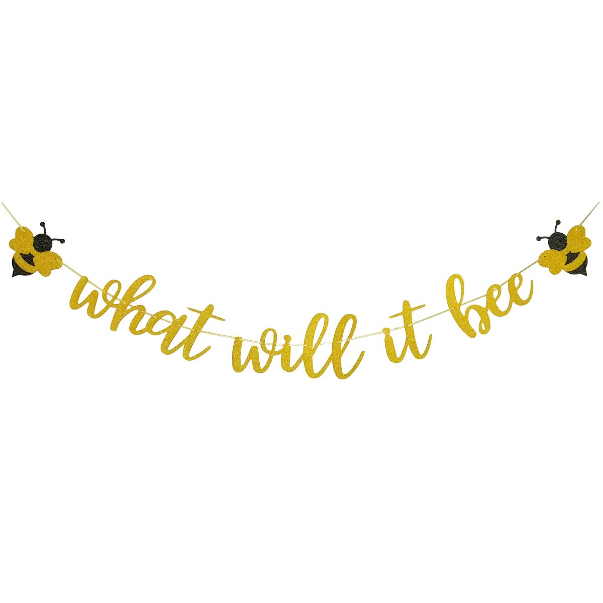 What Will It Bee Gold Glitter Banner for Bumble Bee Gender Reveal Party Baby Shower Decoration by Fadilo