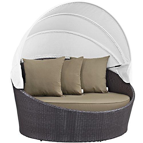 Modway Convene Wicker Rattan Outdoor Patio Canopy Daybed in Espresso (Espresso Canopy Bed)