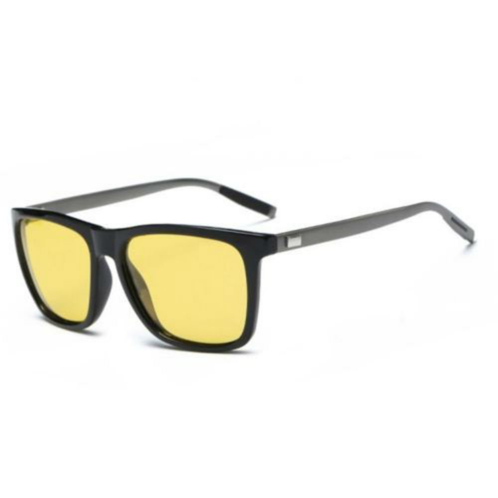 b00a56ba8a Amazon.com  Men s Aluminium Polarized Colored Sunglasses Driving Outdoor  Fishing Eye BLACK WITH YELLOW LENS  Clothing