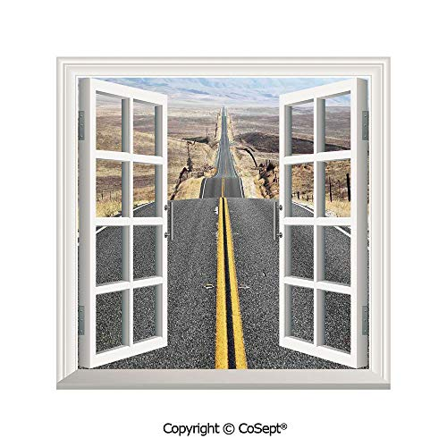 SCOXIXI Removable Wall Sticker,Pacific Coast Highway on The Road Trip to Endless Desert Western Photo,Window Sticker Can Decorate A Room(26.65x20 inch)