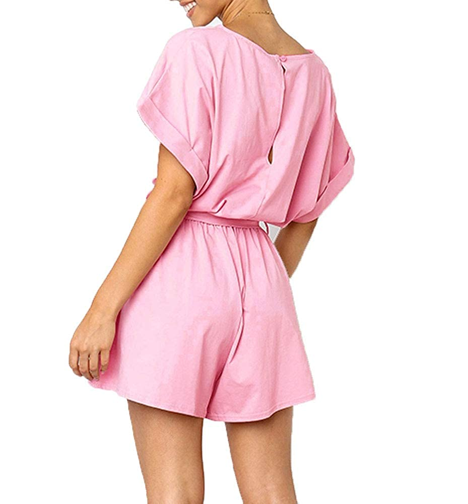 Indistyle Womens Casual Loose Short Sleeves Rompers Playsuit with Belt
