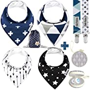 Dodo Babies Baby Bandana Drool Bib Set - 4pc Infant Bibs with 2 Pacifier Clips, Binky Case, Gift-Ready Bag - S