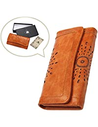 Women Leather Wallet Clutch Purse Card Holder Ladies Hollow Out Long Wallet