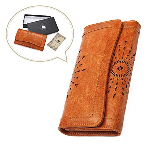 OURBAG Women Leather Wallet Clutch Purse Card Holder Ladies Hollow Out Long Wallet - Wallet Womens Vintage
