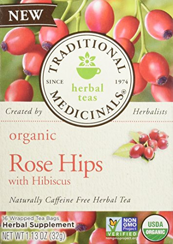 (Traditional Medicinals Tea Rose Hips Hibiscus Organic, 16 ct)
