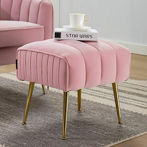 Altrobene Modern Velvet Upholstered Ottoman Footrest with Gold Finished Mental Legs, Pink