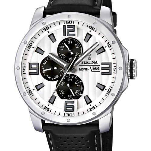 Festina Sport Multifunktion F16585/5 - Reloj analógico de Cuarzo para Hombre, Correa de Cuero Color Negro (Agujas luminiscentes): Amazon.es: Relojes