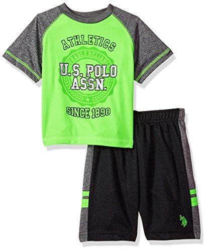 Little Boys Set - U.S. Polo Assn. Little Boys' T-Shirt and Mesh Short Set, Athletics Since Eighteen Ninety Lime, 5/6