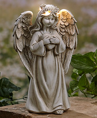 The Lakeside Collection Garden Angels with Solar Halos Heart
