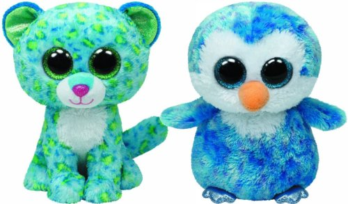 Leona Leopard (Ty Beanie Boos Ice Cube the Penguin and Leona the Blue Leopard Set of 2)