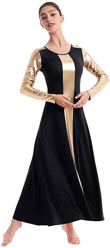 Amazon Com Ibakom Vestido De Baile De Iglesia Para Mujer Liturgico De Culto Cristiano Metalico Bi Bloque De Color Ropa De Baile Clothing