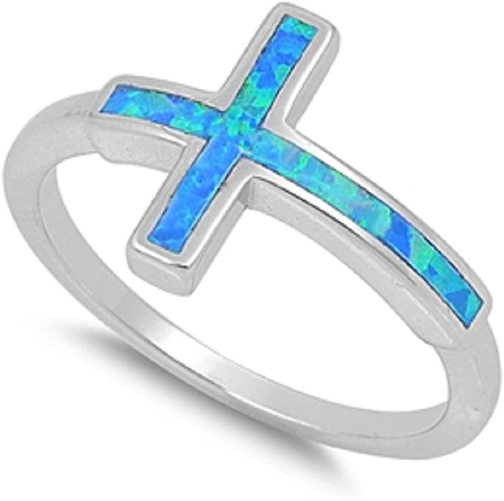 CloseoutWarehouse Sideway Cross Blue Simulated Opal 925 Sterling Silver Size 8